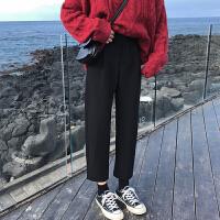 裤子女秋冬新款韩版宽松哈伦裤黑色西装裤高腰九分裤休闲裤潮