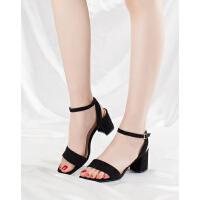 珂卡芙凉鞋新款女夏季一字扣粗跟高跟女士百搭仙女鞋