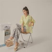 【夏末直降价:168元】七格格OtherMix纯色透视衬衫女2021年夏季新款宽松长袖西装领薄款衬衣潮