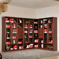 御品工匠 中式实木书柜 自由组合书房开放式书架 乌金木色转角书柜书橱文件柜K0619