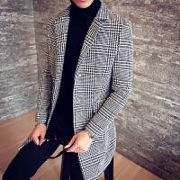 秋冬秋季中长款青年修身外套西装领男士格子单排扣欧美简约风衣