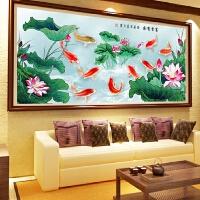 新款客厅连年有余贴砖满钻十字绣古典九鱼聚福图钻石画点钻魔方钻