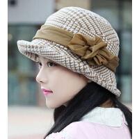 女士仿羊毛呢帽盆帽 优雅千鸟格礼帽卷边 时尚保暖抗风帽