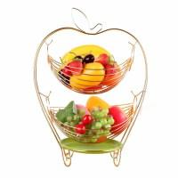 家居水果篮多层零食糖果盆 客厅装饰时尚不锈钢色水果盘
