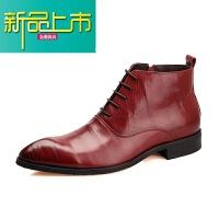 新品上市冬季复古男士马丁靴男高帮皮鞋英伦真皮靴短靴韩版潮流加绒男靴子