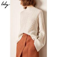 【明星同款】羊绒衫Lily春新款半高领编织花纹白色毛针织衫