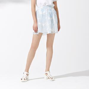 美特斯邦威夏装新款女时尚修身A型蕾丝短裙