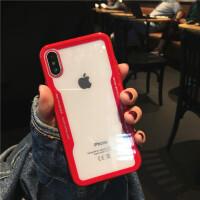 小米mix2s手机壳亚克力5x男女款小米6x 8情侣全包防摔透明简约 小米mix2s 红色边