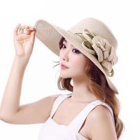 沙滩帽子女夏天休闲出游防晒遮阳海边大沿帽檐草帽