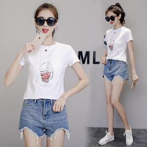 棉夏季T恤女短袖韩版割破刺绣亮片体恤衫女上衣小衫潮