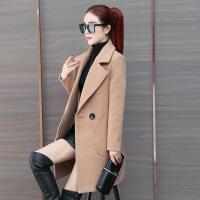 2018流行呢子大衣女新款韩版中长款学生赫本风小个子毛呢外套秋冬 桔色 S