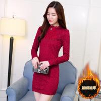 秋冬新款女装韩版加绒加厚蕾丝打底衫女显瘦中长款包臂长袖连衣裙