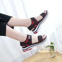 夏季新款厚底凉鞋女韩版松糕鞋大码休闲运动凉鞋鞋沙滩鞋露趾