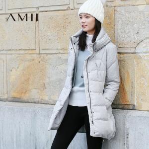 AMII[极简主义]冬装新款纯色白鹅绒修身中长款加厚羽绒服女装