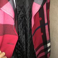 格子风衣女中长款2018秋冬新款韩版气质收腰夹棉外套chic大衣 红色加棉款 S