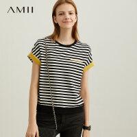 【预估价67元】Amii极简港味百搭绿色条纹短袖T恤女2019夏新款圆领宽松显瘦上衣