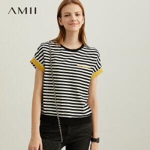 【1件5折到手价85】Amii极简欧货港风chic潮T恤女2019夏季新款圆领宽松撞色条纹上衣