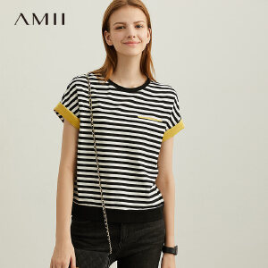 【到手价:64.9元】Amii极简欧货港风chic潮T恤女2019夏季新款圆领宽松撞色条纹上衣
