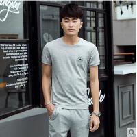 青少年短袖长裤跑步运动服韩版时尚两件套男运动套装休闲大码
