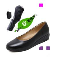 酒店工作鞋女黑色软皮平跟不累脚舒适工鞋防滑软底平底单鞋女圆头 黑色 黑色舒适版