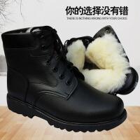 秋冬季加厚羊毛军靴男防滑短靴户外工作保暖雪地靴防水棉鞋登上靴
