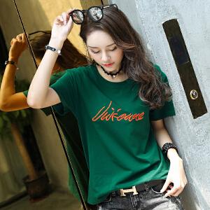 卡茗语休闲女装T恤上衣 宽松加大码纯棉短袖女式t恤2017夏季新款韩版潮