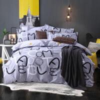【支持礼品卡支付】双面可用四季款床上用品被套床单四件套纯棉全棉简约现代1.5米床1.8米床可用