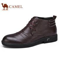camel 骆驼男鞋 冬季新品商务靴男真皮加绒高帮保暖商务皮鞋