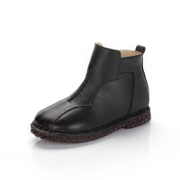 舞玛女童靴子公主短靴2017新款冬季小皮靴宝宝牛皮冬靴加毛保暖童鞋
