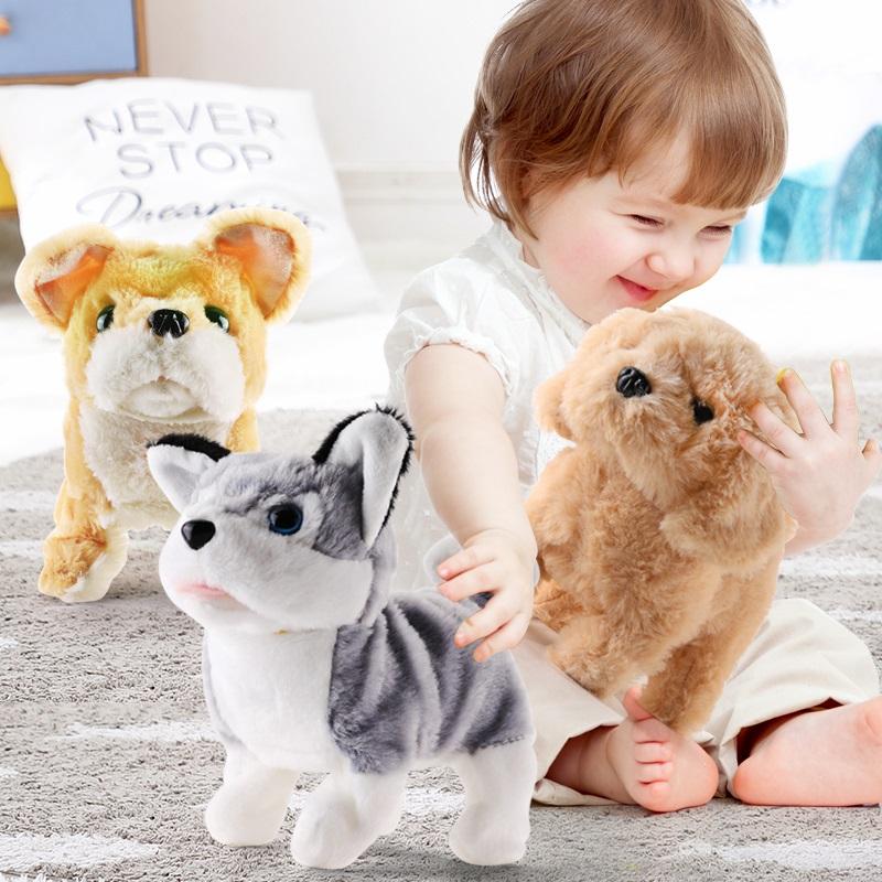 哈士奇公仔布娃娃毛绒玩具狗仿真会叫走路益智