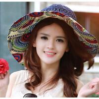 韩版女士防紫外线甜美遮阳帽 时尚大沿帽沙滩草帽防晒太阳帽