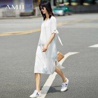 【AMII 超级品牌日】Amii[极简主义] 2017夏装新款宽松V领绑带插袋开衩连衣裙11772011