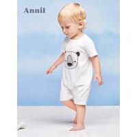 安奈儿童装婴小童春夏新款短袖针织连体衣YB727858