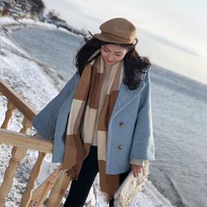 谜秀毛呢外套女短款2017冬装新款韩版宽松小个子条纹加厚呢子大衣