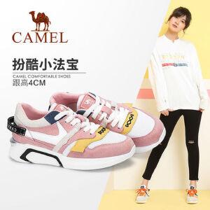 Camel 骆驼女鞋2018春季新款原宿旅游厚底学生休闲鞋透气网面运动鞋女