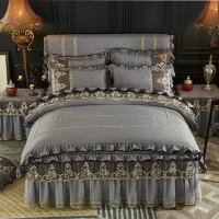 欧式磨毛夹棉床裙式四件套蕾丝花边纱公主床罩款保暖床上用品