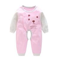 新生儿衣服宝宝爬爬服哈衣1-3岁长袖薄款 春秋婴儿可爱卡通连体衣 粉色 时尚小熊