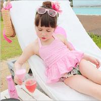 新款儿童泳衣泳帽泳裤三件套 韩版1-8岁宝宝游泳衣 女孩女童婴幼儿连体裙式泳装