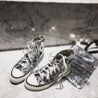 网红鞋新款ins港风ifion女鞋亮片高帮帆布鞋女板鞋 银色