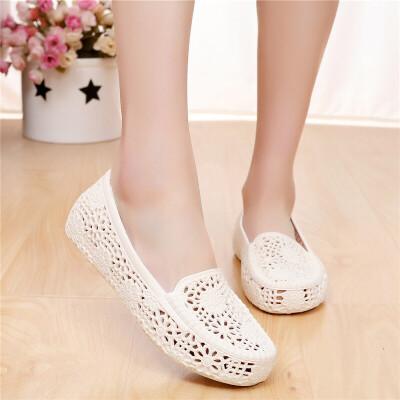 塑料凉鞋女夏白色护士鞋工作鞋镂空洞洞鞋沙滩鞋妈妈鞋软底
