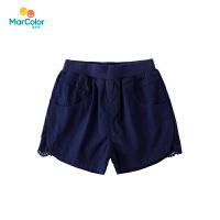 【2件2折】马卡乐童装裤子女童夏新品薄款休闲宽松蕾丝拼接短裤