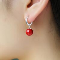 大红贝壳珍珠耳环扣女耳坠饰品简约耳钉无耳洞耳夹