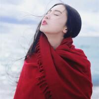 青海湖沙漠旅游防晒披肩女夏季红围巾女大空调房披风