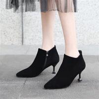 2018新款短靴女春秋鞋子高跟靴细跟女靴猫跟单靴裸靴尖头靴子踝靴 黑色