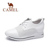 Camel/骆驼女鞋 2017春季新款 时尚休闲小白鞋 透气内增高鞋女