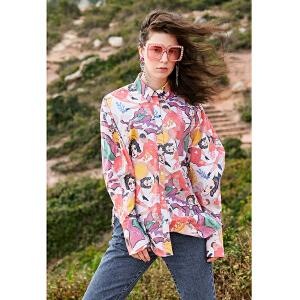 两三事卡琪尔的私生活 2018春装新款个性人物印花纯棉衬衫女长袖