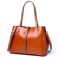 艾欧尼莎 2018新款时尚真皮女包单肩牛皮购物袋手提真皮包简单实用女士大包