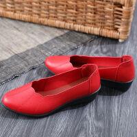 春季女鞋软底舒适妈妈鞋平底中年妇女中老年单鞋老人皮鞋女士
