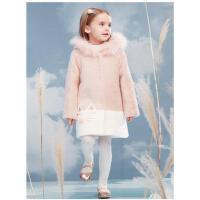 新款洋气时髦水貂绒儿童小女孩貂毛大衣加棉女童毛呢外套冬装