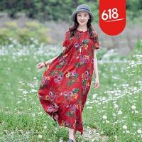复古斜襟布扣套头短袖连身裙原创设计民族风女装棉麻连衣裙夏新款GH131 均码